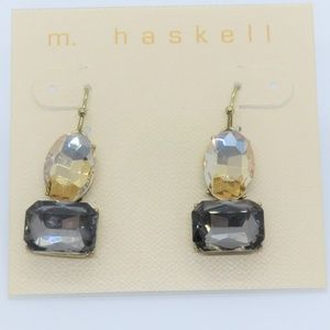 m. haskell Drop Dangle Earrings Smokey faceted